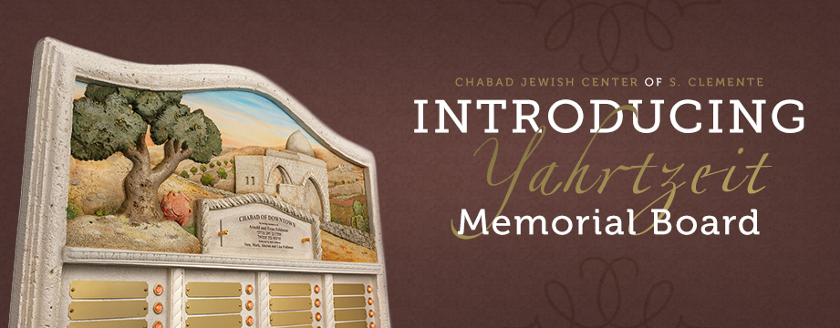 Chabad Jewish Center of S. Clemente Memorial Board